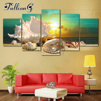 FULLCANG 5 piece diy diamond painting blue beach sea scenes full square/round drill 5d mosaic embroidery shell sea picture FC838