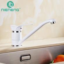 Nieneng белый воды смесителя кухня краны латунь Кухонная мойка кран Chrome Смеситель для кухни один бронзовый водопроводной воды ICD60396