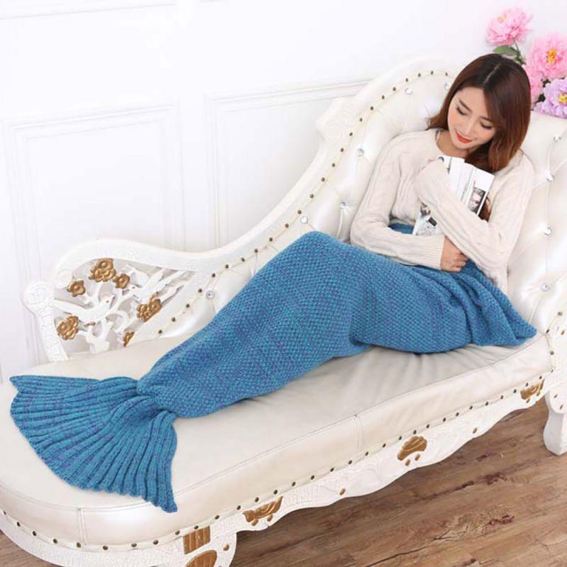 95x195 cm Yarn Knitted Mermaid Tail Blanket Handmade Crochet Mermaid Blanket Adult Throw Bed Wrap Sleeping Bag AA