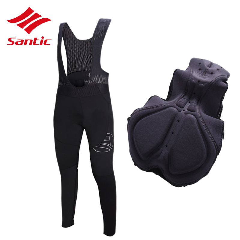 все цены на Santic Cycling Pants Men Elastic Bike Bicycle BiB Pants MTB Trousers Pro 4D Pad Road Cycling Clothing Pantalon Ciclismo Hombre онлайн