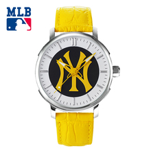 MLB NY Fashion Simple Casual Watch Yellow Leather Band Waterproof  Ladies Watches Lover's  Quartz  Wrist Watch Clock D5010