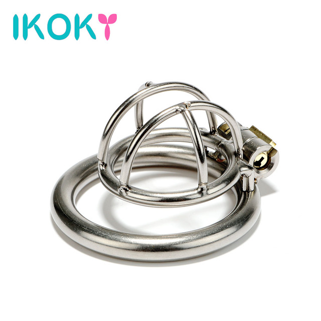 IKOKY Penis Cock Rings Male Chastity Device Chastity Lock Erotic Toy Small Cock Cage Sex Toys for Men Male Stainless Steel