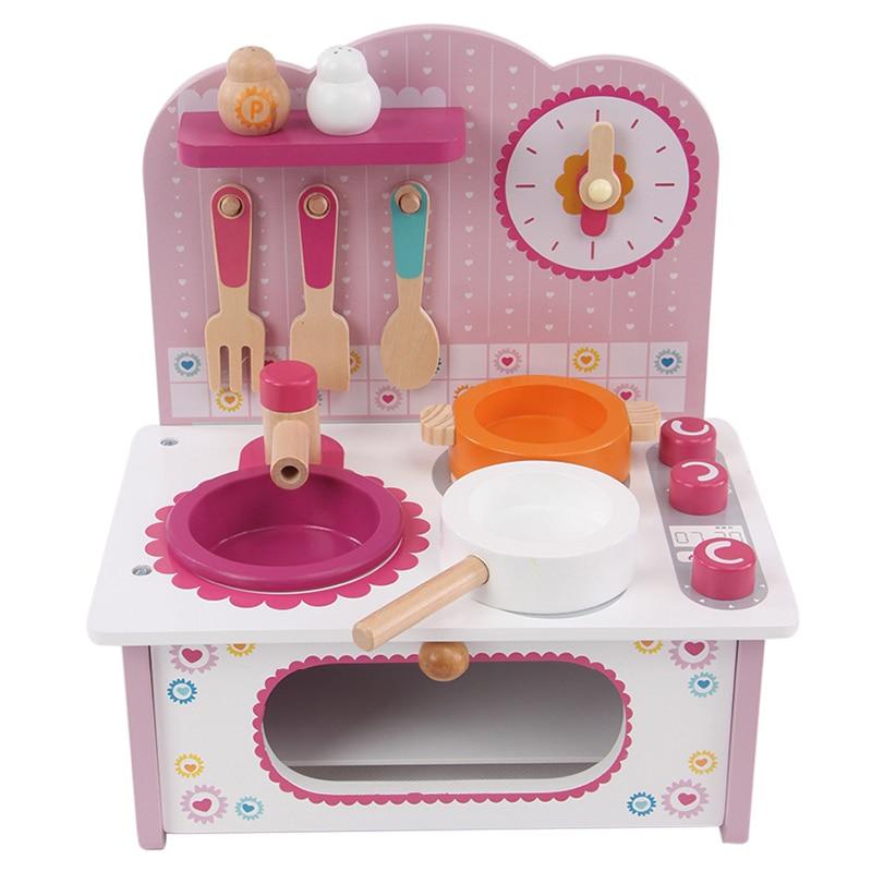 Artificial mini wooden kitchen toys set children pretend for Mini kitchen playset