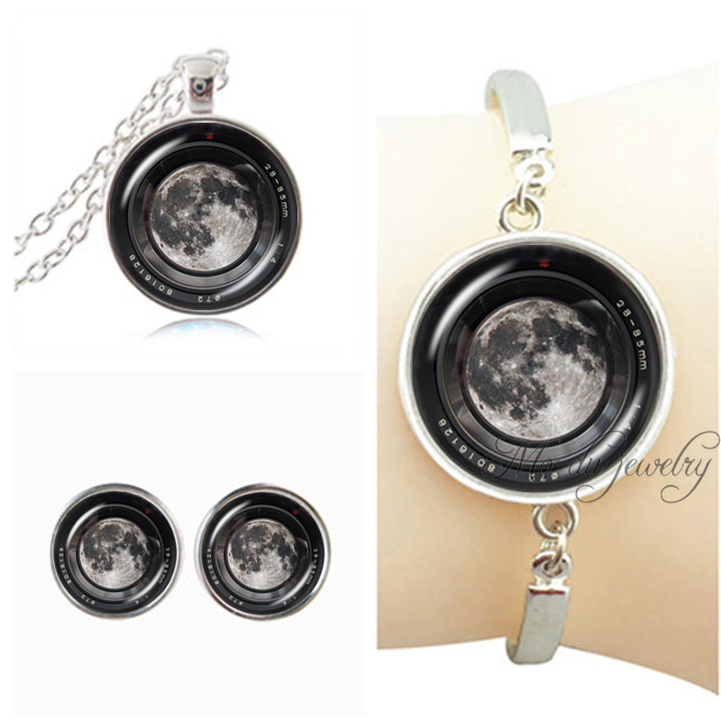 Silver chain camera jewellery set art photo moon pendant camera necklace camera round stud earring glass dome bracelet for women