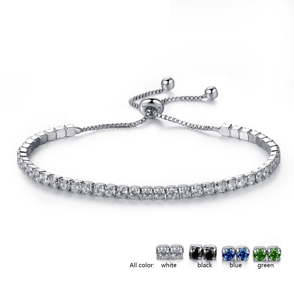 Luxury Can Adjustable 6.7-9.4in Black Green Blue Rhinesto White AAA Cubic Zircon Crystal Thin Bracelets Jewelry For Women Girl