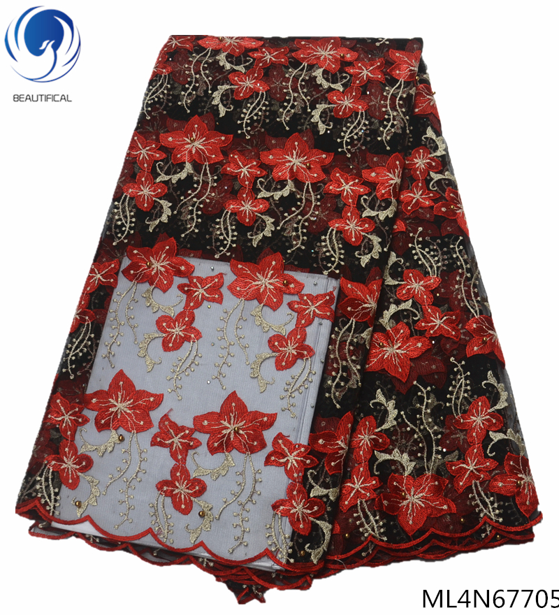 BEAUTIFICAL red african fabric lace stones african french lace fabric 2019 high quality embroidery laces tulle fabric ML4N677 in Lace from Home Garden