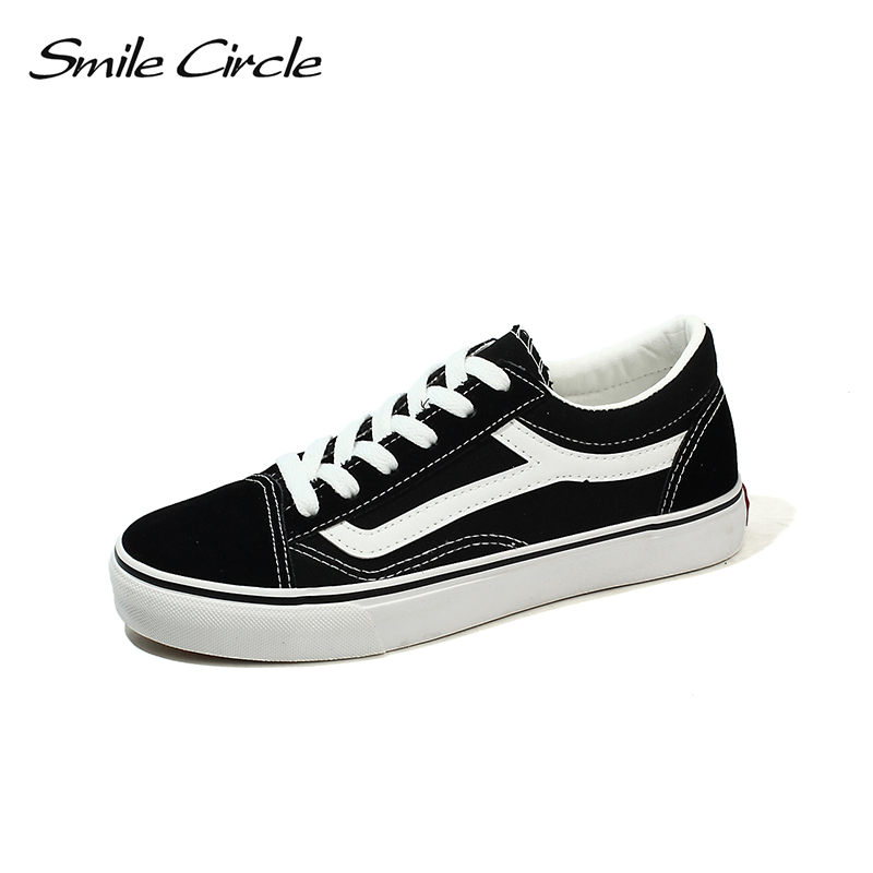 Smile Circle 2018 Spring/Summer White Sneakers Women Ultra-soft Lace-up Casual Shoes Women Flat Canvas Shoes Girl Shoes A4615 xiaying smile woman sneakers shoes women flats spring summer thick sole embroider rose lace up black white student women shoes
