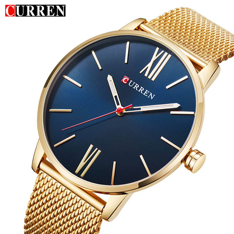 Quartz Watch Men Sports Mens Watches Top Brand Luxury Casual Gold quartz-watch stainless steel ultra thin clock CURREN 8238 цена 2017