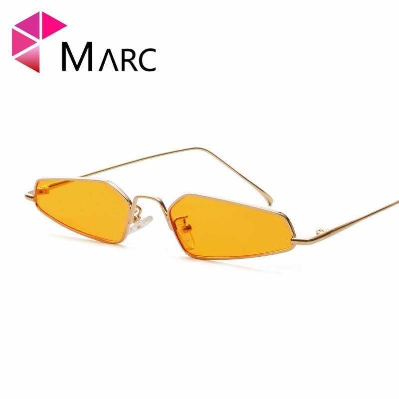MARC New personality metal Sunglasses fashion ins sunglasses woman ocean Small Metal Yellow Trendy UV400 2019