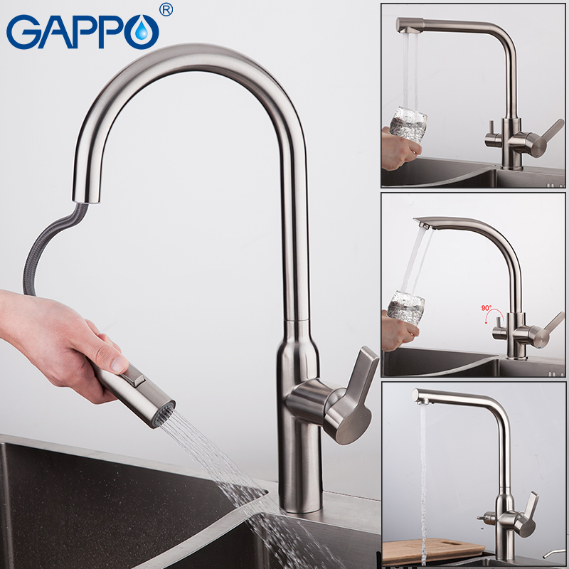 US $69.96 50% OFF|GAPPO Kitchen Faucets pull out kitchen faucet stainless  steel Kitchen water taps mixers sink faucets tap mixer-in Kitchen Faucets  ...