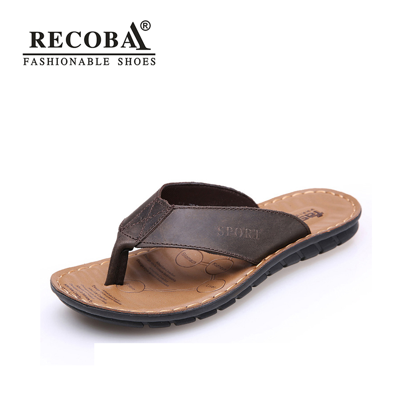 2018 New Men Slippers Shoes Summer Men Shoes Fashion genuine leather Comfortable Big Size 38-44 flip flops men beach sandals 2016 summer new men s massage sole flip flops personality simple slippers breathable fashion beach shoes size 40 44 b1953