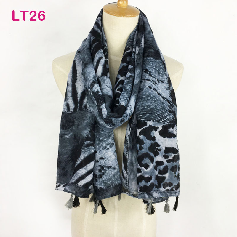 Classical Leopard Tassel Women Scarves, Long Muslim Hijab Scarf, Summer Beach Stole Wraps, Polyester Cotton Scarf