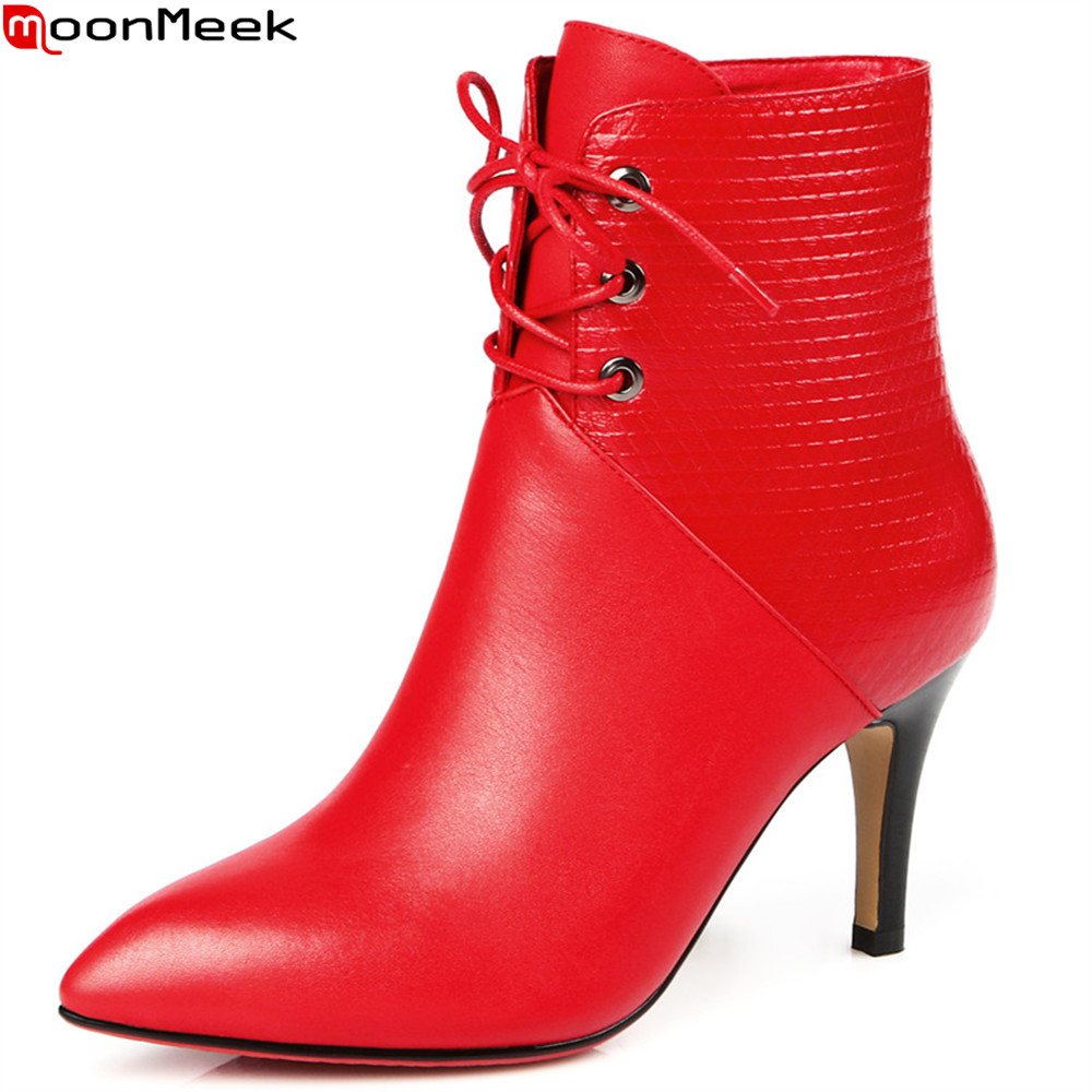 MoonMeek black red autumn winter women boots pointed toe genuine leather boots zipper lace up cow leather ankle boots moonmeek fashion new arrive women boots pointed toe genuine leather boots black red zipper cow leather ankle boots autumn winter