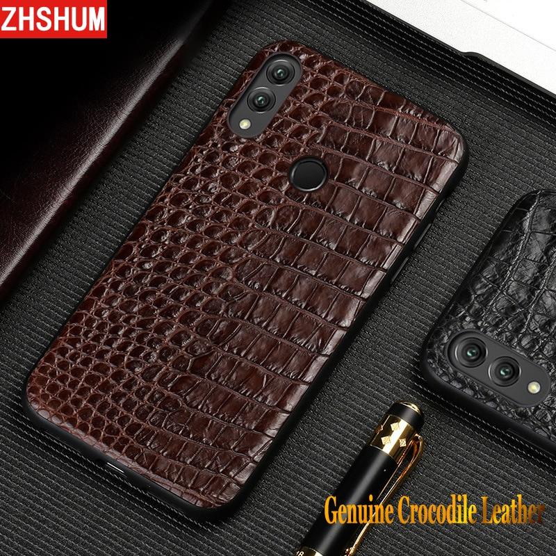 Étui pour huawei P20 Lite Note 10 en cuir de Crocodile véritable coque peau faite main de luxe couverture arrière complète pour Honor Note10 Xiaomi 8