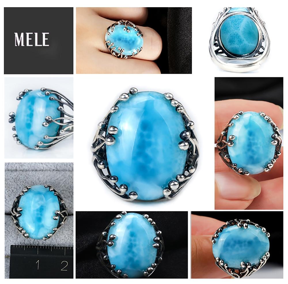 Natuurlijke larimar zilveren ring, ovaal 15mm * 20mm, blauwe steen en - Fijne sieraden - Foto 5
