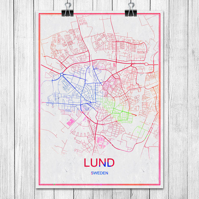 LUND Sweden Famous Colorful World City Map Print Poster Abstract