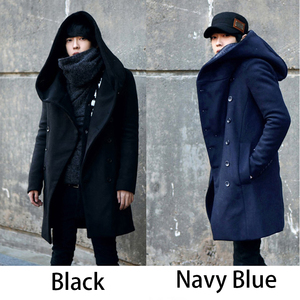 Image 3 - Erkek kış vintage uzun hırka 2018 erkek yün ve karışımları kapüşonlu ceket erkekler manteau homme streetwear Kewlstyle asya boyutu TR07