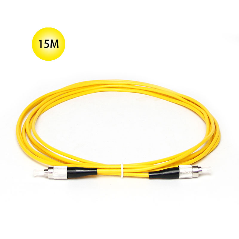 FC to FC Single-mode optical fiber patch cord 15 Meter Jumper Cable 9 Microns UPC Polish Yellow Jacket OFNR For Long Distances