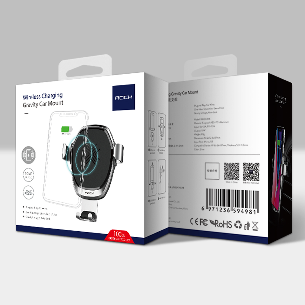 HTB12FMkB5OYBuNjSsD4q6zSkFXaB - 10W QI Wireless Car Charger Gravity Holder , ROCK for iPhone X 8 Plus Samsung Galaxy S8 S7 Note 8 Quick Charge Charging Stand