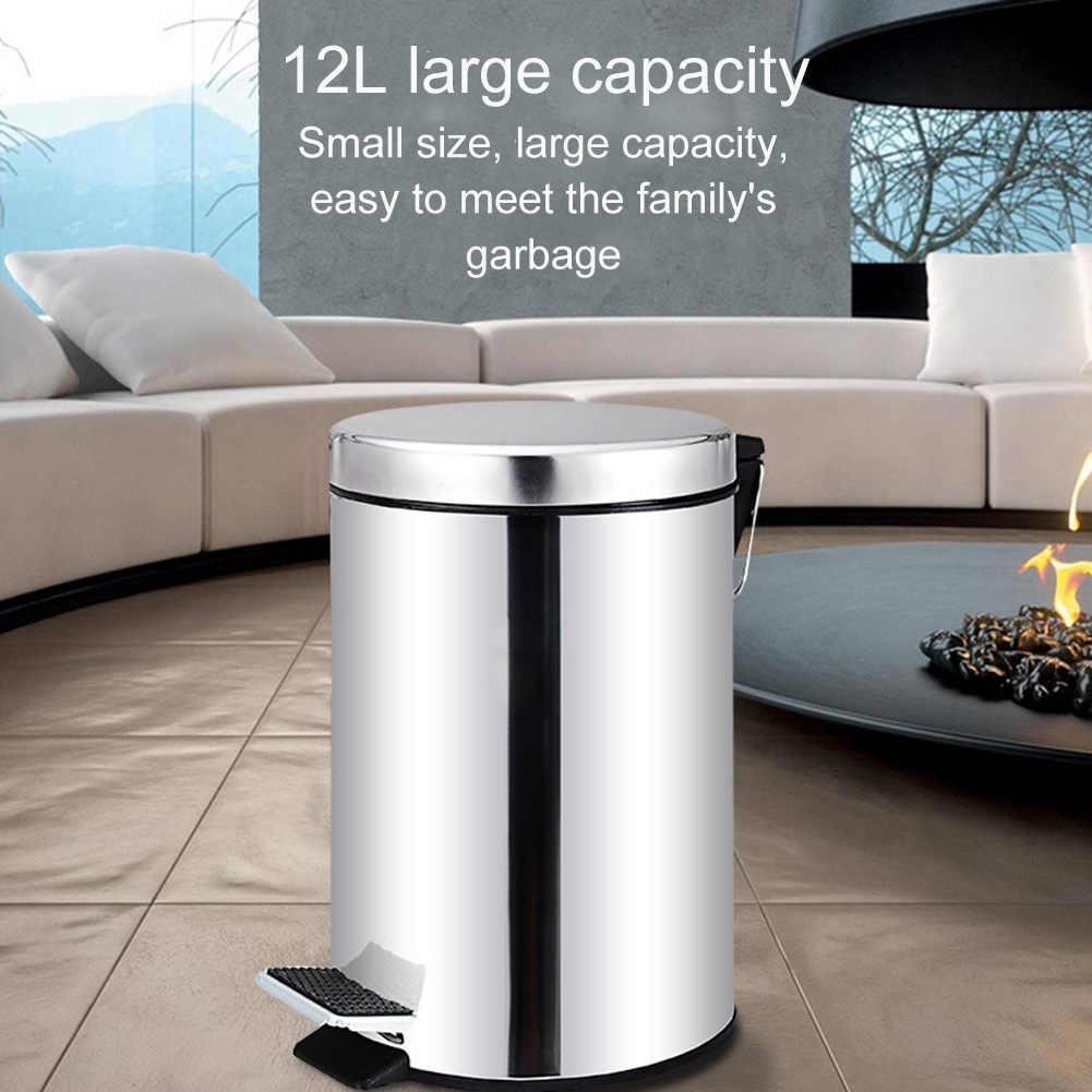 Round Stainless Steel Step Trash Can Wastebasket Garbage Container Bin For Bathroom Bedroom Kitchen Best Price Waste Bins Aliexpress