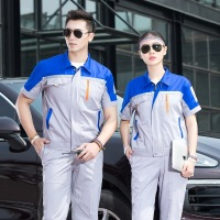 Men Workshop Wear Clothes Unisex Summer Short Sleeves Engineering Uniform Patchwork Jackets+ Pants Cleaner Work Wear 90