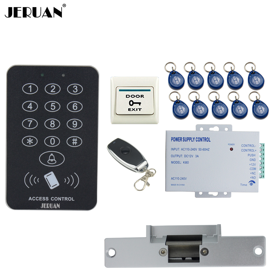 JERUAN RFID Access Controller Door control system kit +Remote control + Exit Button +10 ID Keys +Power +Electric Strike lock rfid door access control system kit set with electric lock power supply doorbell door exit button 10 keys id card reader keypad