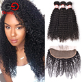 Top 7A Brazilian Virgin Hair With Closure Kinky Curly Virgin Hair With Closure Human Hair 13x4 Lace Frontal Closure With Bundles