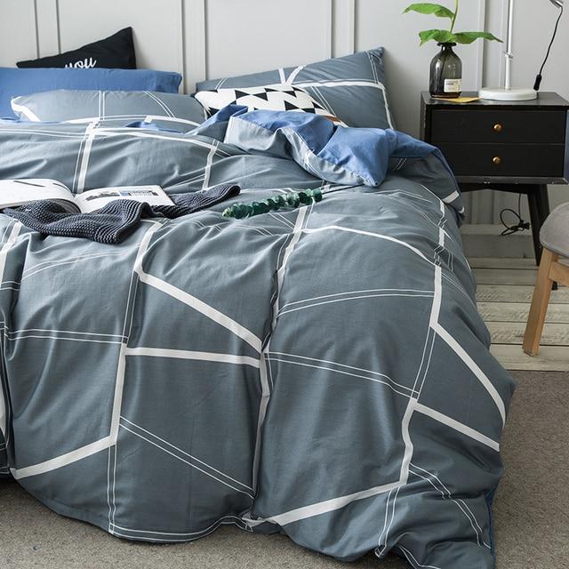 Delicieux Grey Brief Duvet Cover Set For Men White Stripes Quilt Cover Blue Solid  Color Bed Sheets