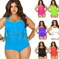 2015 Newest Summer  Plus Size Tassels Bikinis High Waist Sexy Swimsuit Women Bikini Swimwear Padded Fringe Shinny Bathing Suit