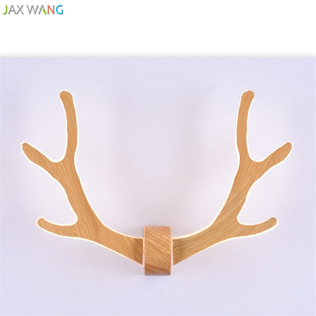 GDW New Post Modern Creative Deer Antlers LED Wall Lights Home Decor Wooden  Wall Lamp Designs