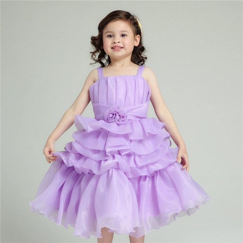 Fleur fille robes enfant violet gâteau Multi couches mode Vestidos 2019 enfants vêtements pour filles de 2 3 4 6 7 8 9 10 T AKF164062