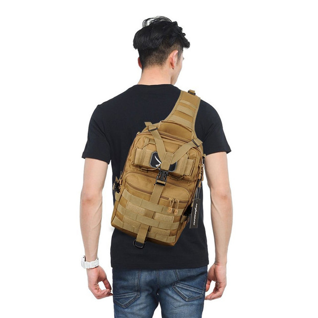 Tactical Sling Backpack Bag Military Molle Assault Pack Rucksack Daypack for Outdoors Camping Hiking Hunting with Pirate Patch
