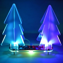 DIY Christmas Tree kit Colorful Easy Making LED Light Acrylic Christmas Tree with Music Electronic Learning Kit Module