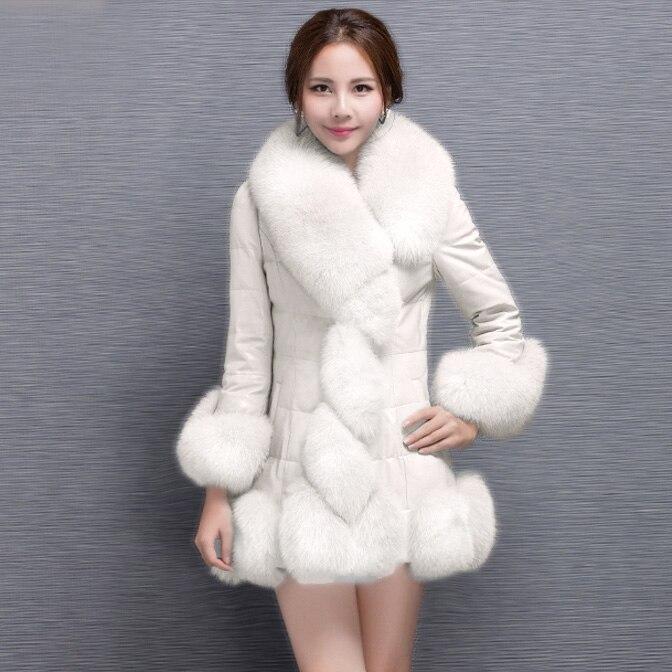Taille Veste Imitation Faux Pardessus rose blanc Hiver 4xl Ciel Mince Renard Colliers Plus Cuir Fit pu Pu Manteau Vestes Manteaux Noir pourpre En Dames Longue c34Aq5RjLS