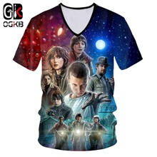 OGKB 3D Printed V-neck T Shirt Men/Women/ Stranger Things 3 Dropship 3d Tee Shirt Movie Poster Eleven Top Tee(China)