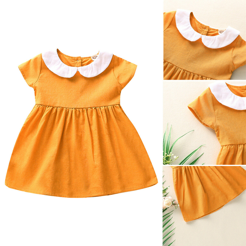 Toddler Dress Princess Short Sleeve Button Sundress Infant Girls Dinner White Navy Collar Yellow Dress