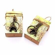 50 Uds regalos recuerdos de boda caja de dulces + llavero de Torre Eiffel de París diseño Vintage para invitados decoraciones festivas de boda fiesta