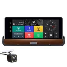 Fonwoon Android 7 «3g Wifi Автомобильный видеорегистратор gps навигация автомобильная камера с buetooth Full HD 1080 P двойной объектив парковки видеорегистратор