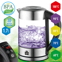 Electric Kettles Temperature Control Glass Kettle 60 100 C, Stainless Steel, LED Light 1.7 L, 2200W ForMe FKG 917