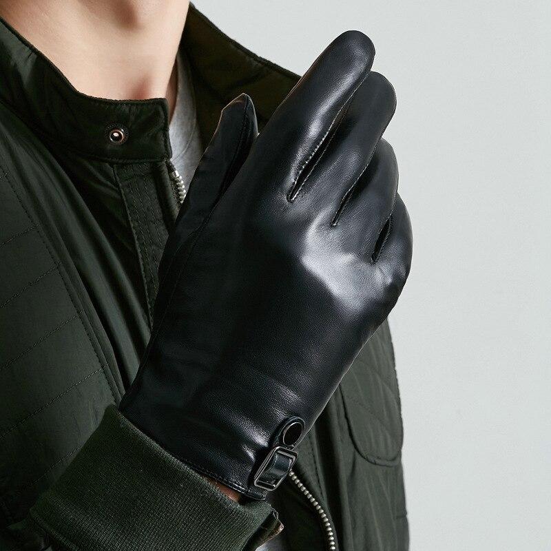 Genuine Leather Gloves Men's Winter Plus Velvet Touchscreen Sheepskin Gloves Thermal Five Finger Driving Men Gloves M9004