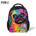 Fashion Colorful Animal Dog Backpack for Kindergarten Baby Girls Boys Small School Bags Cute Pet Pug Printing Backpack Kids Bag