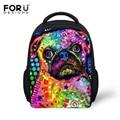 Fashion Colorful Animal Dog Backpack for Kindergarten Baby Girls Boys Small School Bags Cute Pet Pug Printing Backpack Kids Bag