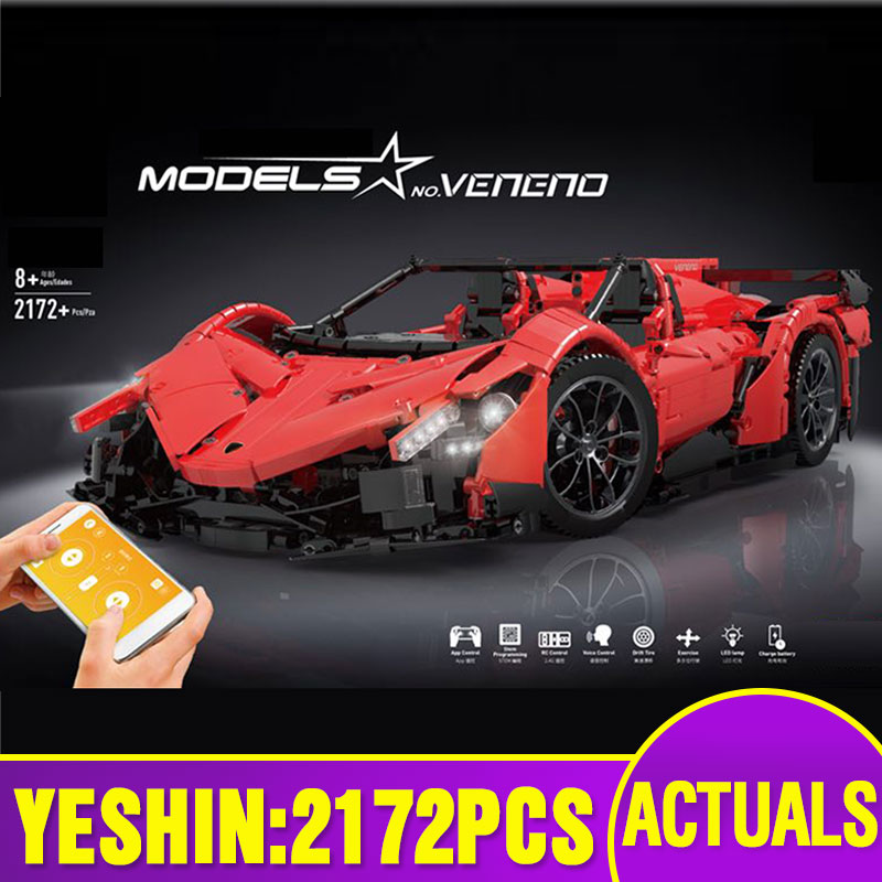 Yeshin 20091 APP Rmote Control Car Compatible With MOC 10559 Motorized Veneno Roadster Set Building Blocks