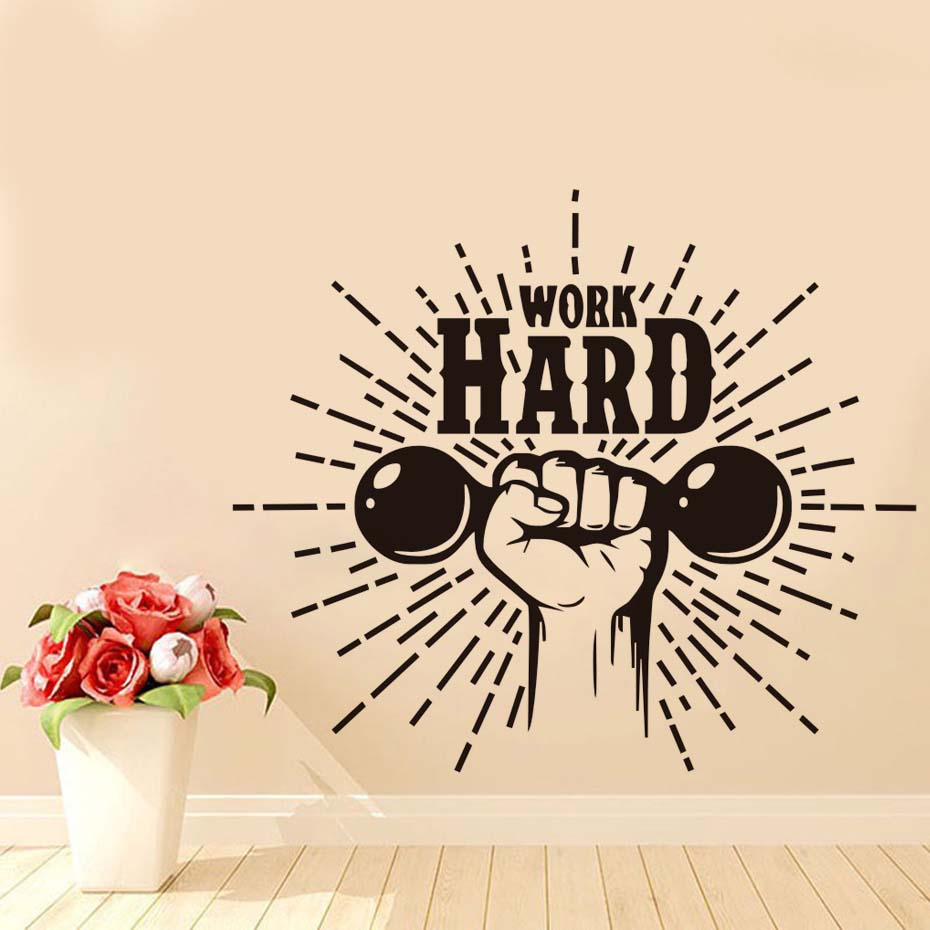 Home Gym Motivational Wall Decal Quote Work Hard Wall Decor Gym Fitness Vinyl Wall Stickers Waterproof Adhesive Art Design ...