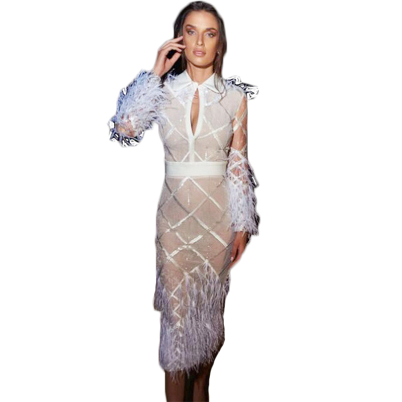 Femmes Sexy nouveauté 2019 blanc à manches longues plumes célébrité Bandage robe maille Patchwork Vestidos genou longueur robe de soirée