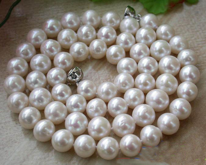 New Arriver Real Pearl Jewellery,24inches AA 9-10MM White Round Freshwater Cultured Pearl Necklace,Magnet Clasp,Free Shipping цена и фото