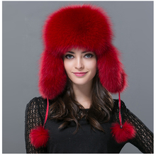 Women Real Fox Fur Hat Winter Russian Warm Fox Fur Leifeng Hat Genuine Bomber Solid Warm Ear Solid Whole Raccoon Fur Hats H#25