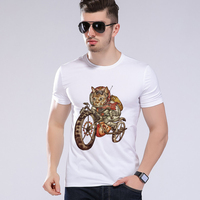Summer Funny 3D Cartoon Animals Harley Motorcycle And Cat Printed T Shirt Men Short Sleeve T-shirt High Quality Moe Cerf H8-39#