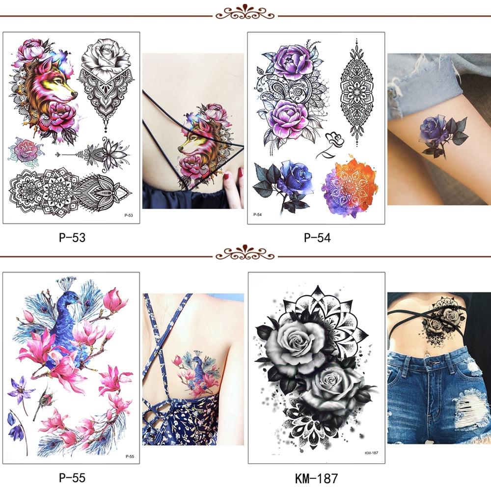 Flower Bird Decal 1pc Fake Women Men DIY Henna Body Art Tattoo Design HB556 Butterfly Tree Branch Vivid Temporary Tattoo Sticker 4