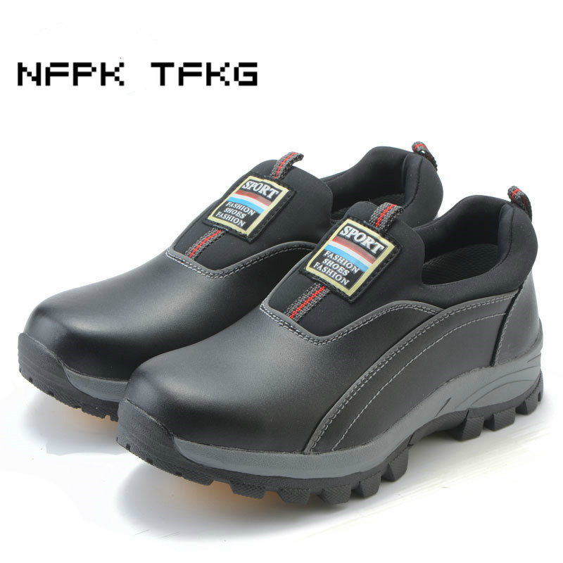 men s fashion steel toe caps work safety shoes slip on puncture proof genuine leather tooling